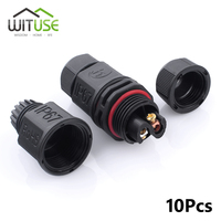 Wituse 2 Way or 3 Way IP67 Waterproof Connector 2 Pin Electrical Terminal Plug For Solar Panel 10Pcs Connector Plug Socket
