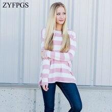 ZYFPGS 2019 Autumn Womens Long Sleeve t-shirt Loose Striped Beauty T-shirt Plus Size Female Top Fashion XXL Z0818