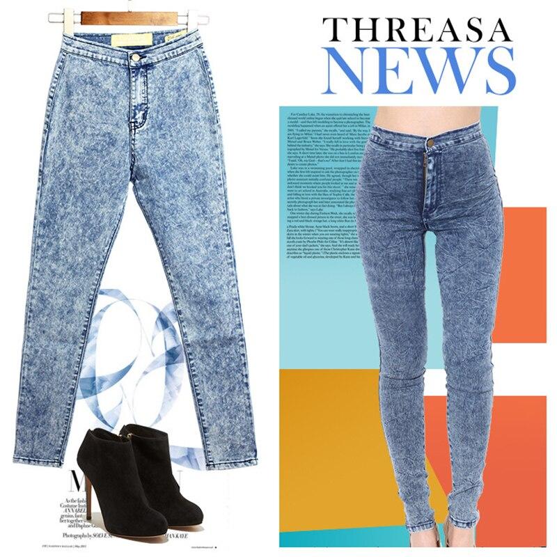 Jeans Woman High Waist Jean Pants Woman Ripped Jeans for Women American Apparel Jeans Femme Fashion Slim Skinny Pencil Pants flower print jeans woman high waist jean