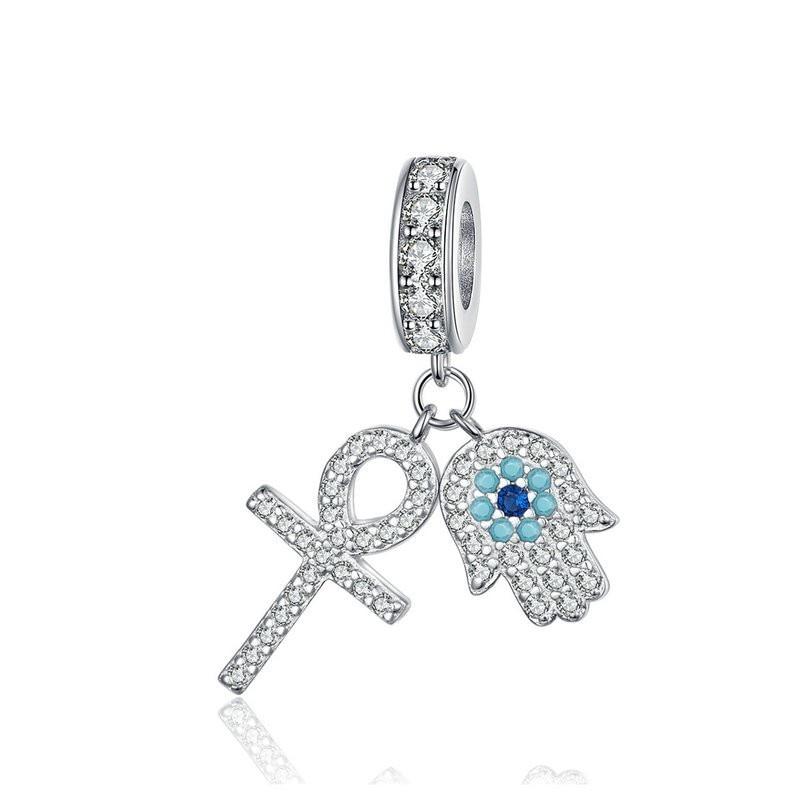 Guardian Hamsa Hand Pendant Charm For Bracelet Bangle 925 Sterling Silver Fatima Hand Guardian Jewelry For Women Bsc084