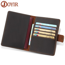цены JOYIR Genuine Leather Passport Cover Travel Business Card Holder For Men Women Vintage Passport Case Credit Card ID Holders Bags