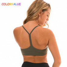 Colorvalue Anti-sweat Y-Type Yoga Fitness Bra Crop Top Women Push Up Soild Workout Gym Brassiere Sports Bras with Removable Pads