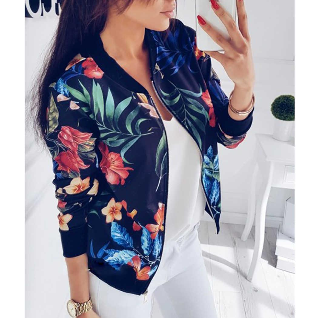 e9b3d66d629 ... Новый Для женщин с цветочным принтом пальто в стиле ретро на молнии  Курточка бомбер Бейсбол пальто ...
