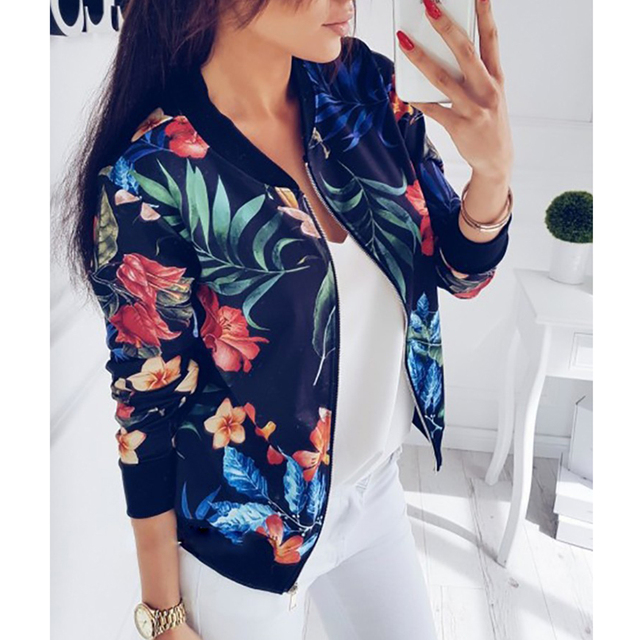 9d81bab12344 M-5XL Retro Floral Print Coat Women Zipper Up Bomber Jacket Plus Size Long  Sleeve