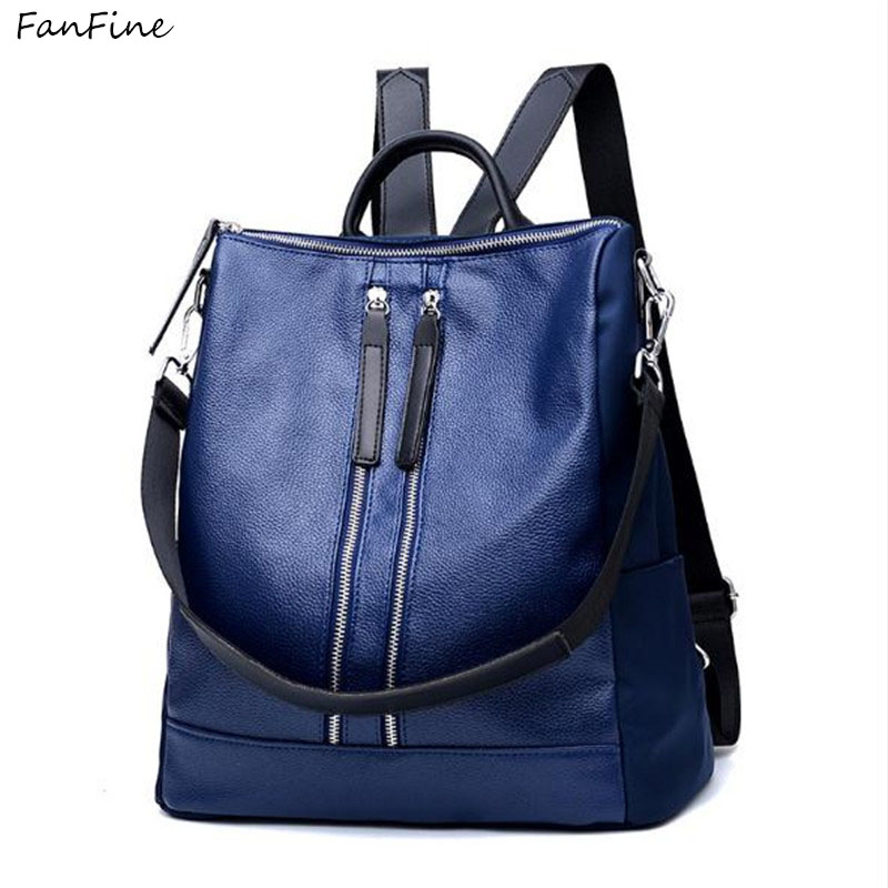 FanFine Backpack Female pu Leather Women Backpacks School Bag Pink Stripe  Multifunctional Back pack on Shoulder bag-in Backpacks from Luggage   Bags  on ... f861fab0d4a1