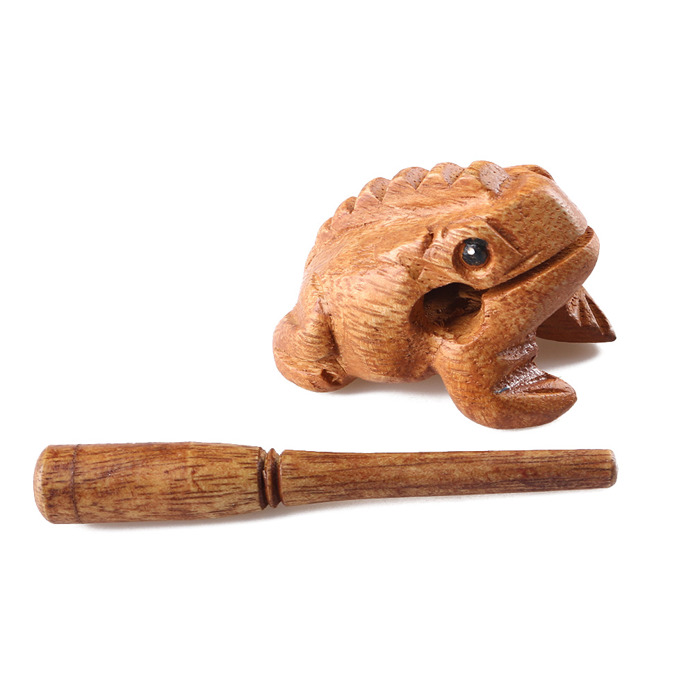 Hot Traditional Wooden Money Frog Musical Instrument Decompress Toys Fortune Symbol Percussion With Stick Decoration Gifts