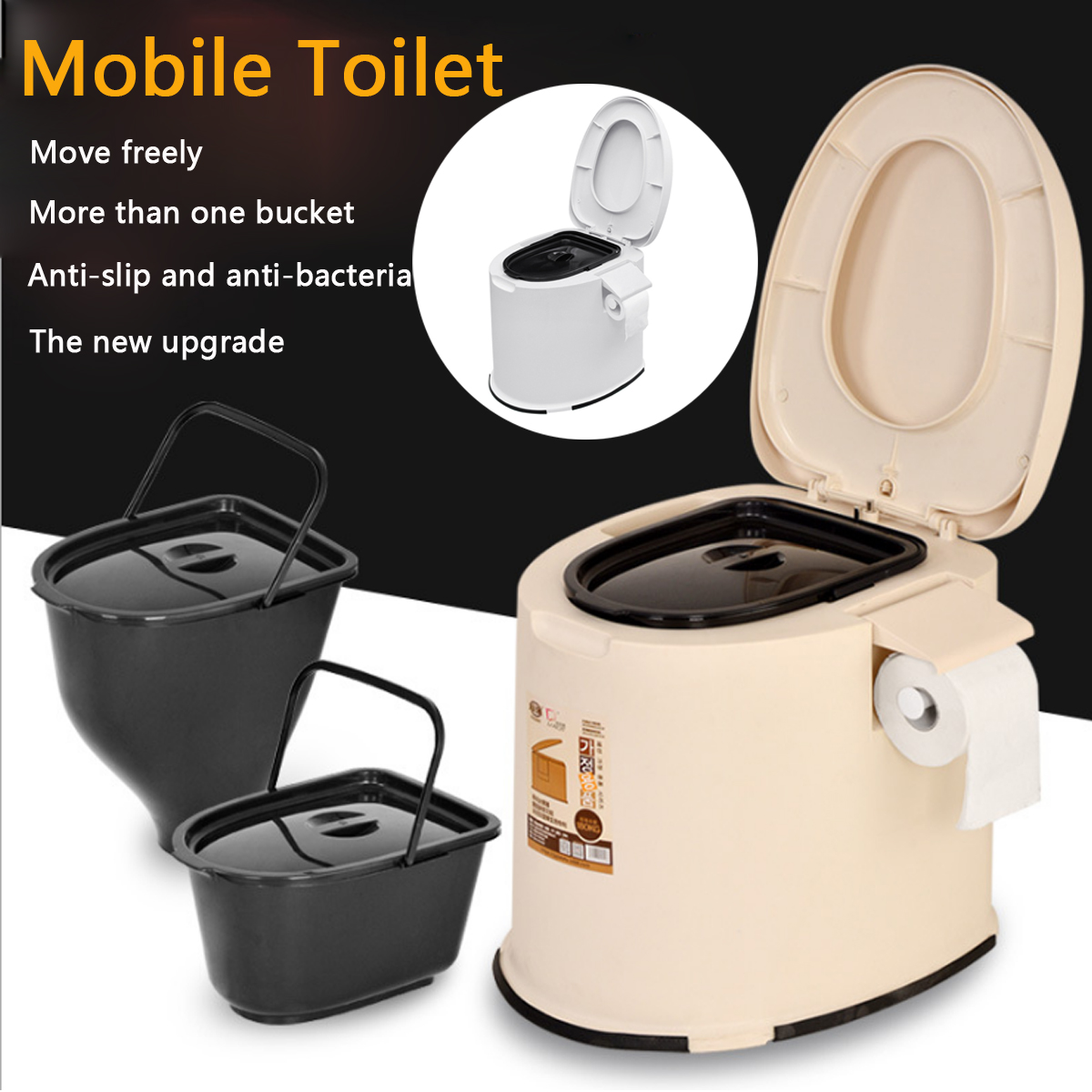 12L Ёмкость комфорт Портативный Туалет мобильных Туалет Путешествия Отдых комод горшок открытый/закрытый