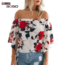 Flower Print Blouse Shirt Women Off Shoulder Loose Casual Blue White Blouse 2017 Summer Slit Blusas Chiffon Tops Fashion Clothes