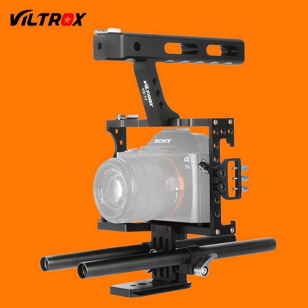bilder für Viltrox 15mm Rod Rig DSLR Kamera Video Käfig Kit Stabilisator + Top Griff Grip für Sony A7 II A7R A7S A6300 A6500 Panasonic GH4 GH3