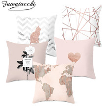 Fuwatacchi Pink Geometric Cushion Cover Nordic Diamond Wave Heart Pillow Polyester Home Sofa Chair Decorative Pillows