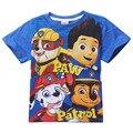 Venda quente Dos Meninos do Algodão T-Shirt das Crianças Roupas de Verão Dos Desenhos Animados Da Pata cão Camisa Do Bebê de Manga Curta Encabeça Tshirts Crianças Azul Vermelho Tees