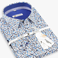 2016 Dos Homens 100% Algodão Multicolor Floral Camisa Camisa de Manga Longa Flor Soft Comfort Slim-fit Casual de Negócios de Luxo camisas