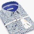 2016 hombres 100% Algodón Multicolor Floral Camisa de Manga Larga Camisa de La Flor Soft Comfort Slim-fit Casual de Negocios de Lujo camisas