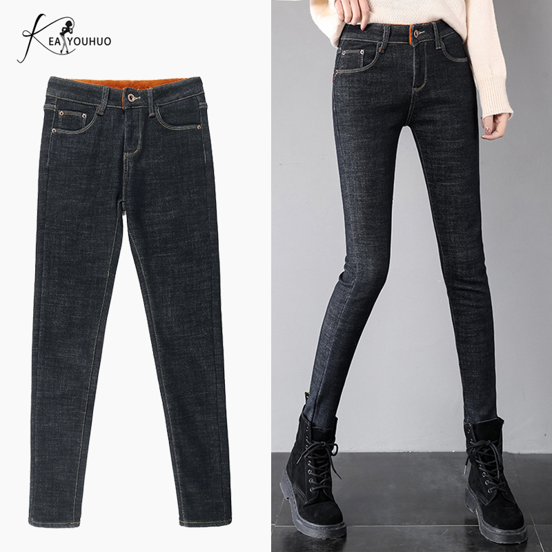 2019 Winter High Waist Denim Warm Jeans Boyfriend Jeans For Women Plus Size Straight Mom Jeans Stretch Black Skinny Jeans Woman