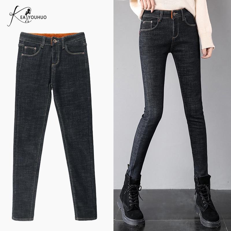 2019 Winter High Waist Denim Warm Jeans Boyfriend Jeans For Women Plus Size Straight Mom Jeans Stretch Black Skinny Jeans Woman