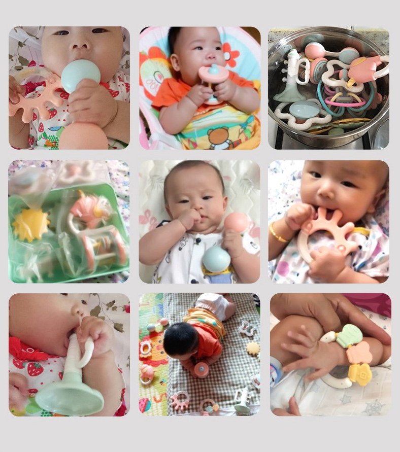 Beiens 6-8Pcs/Set Colorful Baby Rattle Set Montessori Toys Teething Kids Educational Crib Mobiles Baby Teether Rattles for Baby