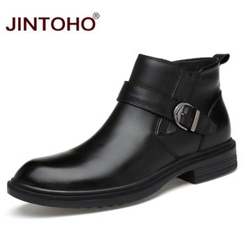 JINTOHO 2017 wysokiej jakości prawdziwej skóry zimowe męskie buty buty skórzane do kostki ciepłe buty męskie zimowe marki mody buty męskie tanie i dobre opinie Podstawowe Skóra bydlęca ANKLE Pasek klamra Pasuje większy niż zwykle proszę sprawdzić ten sklep jest dobór informacji