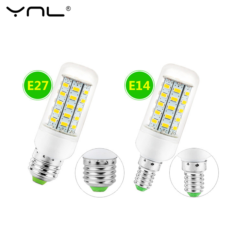 YNL Bombillas E14 E27 LED Lamp 220V 24 36 48 56 69 72 96 Leds Ampoule LED Corn Bulb SMD 5730 Lampada LED Bulb Chandelier Lights