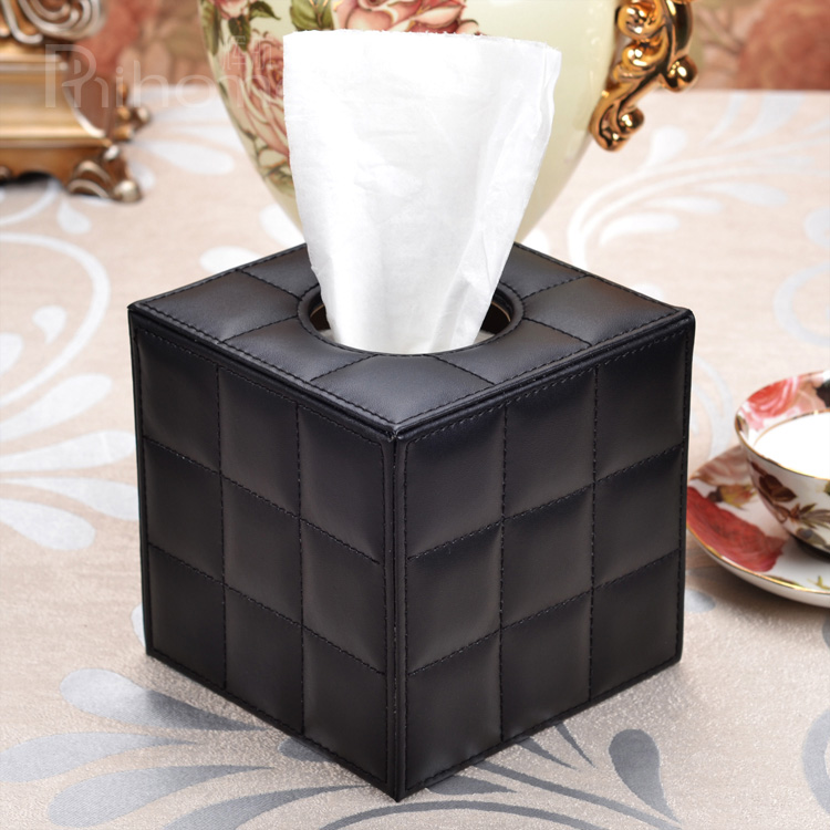 Car Tissue Box Holder Cover Napkin Case Wood// PU Table Room Office Paper New
