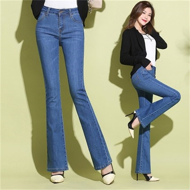 511961282bd Woman Spring Slim Fit Plus Size Flare Jeans High Waist Stretch Skinny Jean  Vintage Bell-Bottom Pants Denim Trousers