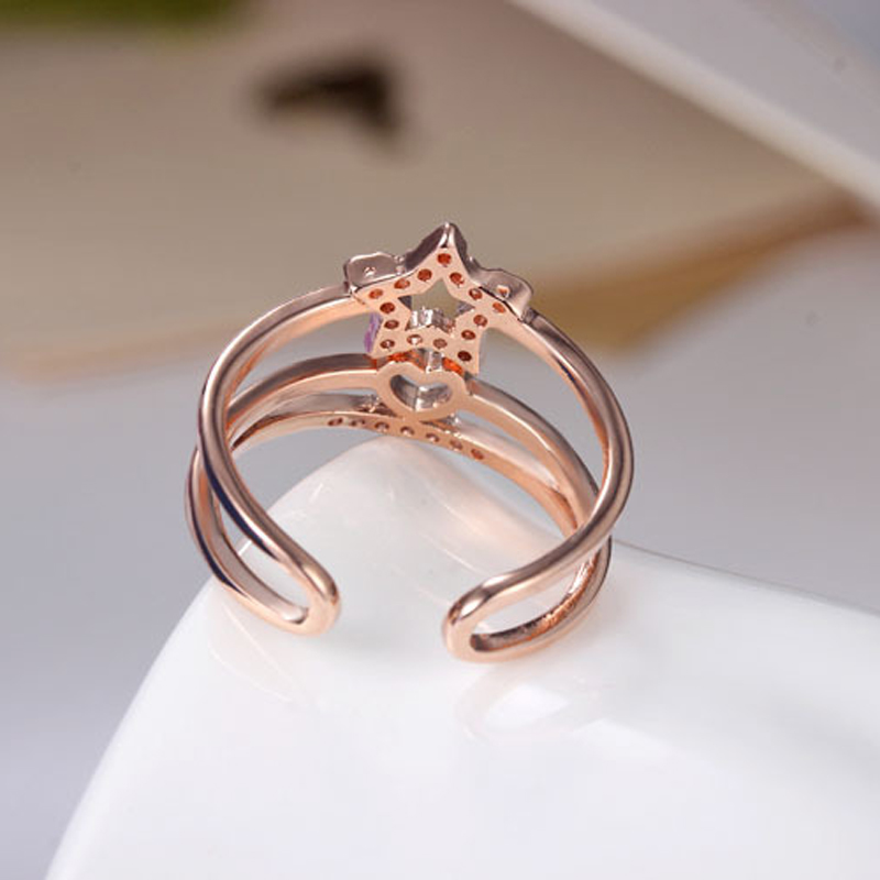 Two Tone Connected Rose GoldSilver Color Love Heart star Wedding