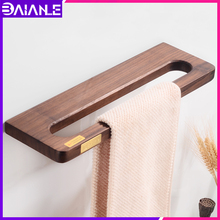 Bathroom Towel Ring Bar Brass Wood Toilet Holder Hanger Wall Mounted Rack Hanging Hotel Accessories