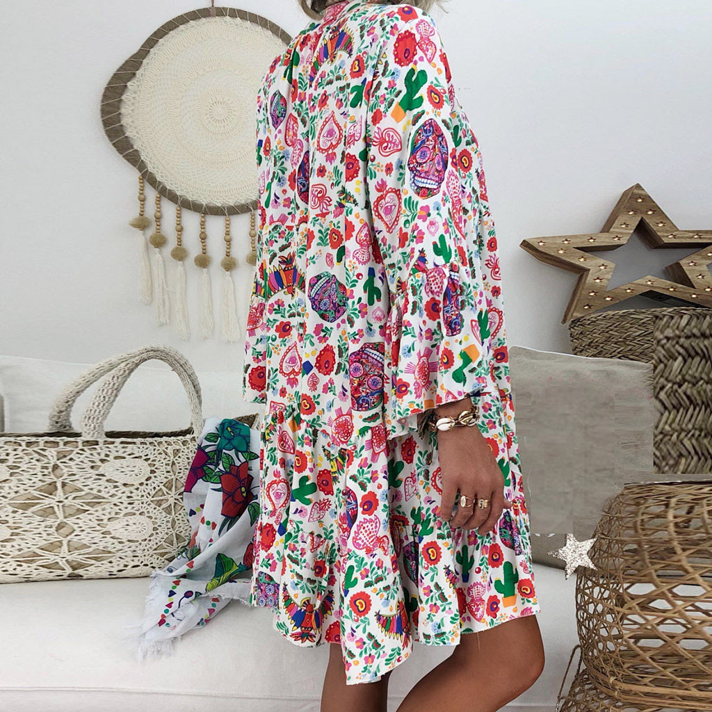 Women s Ladies Loose Print Three Quarter Sleeve Mini Dress Summer Dress robe femme sukienki vestidos