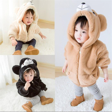 2018 Winter Cartoon Bear Design Kids Thick Coat Boys Girls Faux Fur Brushed Clothing Outfits Baby Tops Hooded Coat 1-4T 2018 autumn winter baby boy clothes girls bear owl pattern kids cartoon sweaters boys clothing girls clothing thick warm