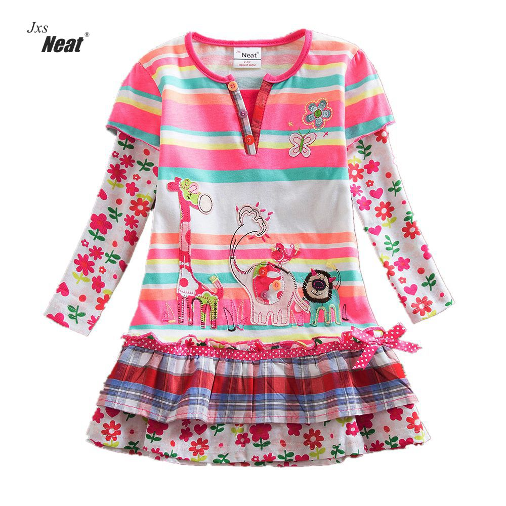 Girl Long Sleeve Dress 2017 Children Kids Girls Spring Girls Baby Dress Animal Embroidery Cake Dress Pattern Cotton Dresses L323 2 10yrs girls dress kids princess dress long sleeve baby girl cute palace style blue and white floral embroidery spring 2017 new