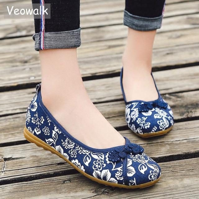 Veowalk/китайские женские балетки на плоской подошве с цветочным узором; сезон весна-лето; Женская Удобная парусиновая балетная обувь без застежки в винтажном стиле