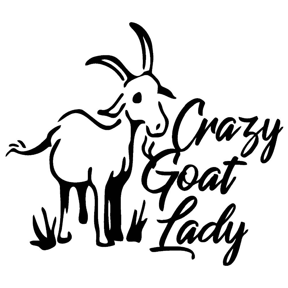 13*9cm Crazy Goat Lady Goats Kids Decal Window Bumper Sticker Car Decor Novelty JDM Drift Vinyl Decal Stickers