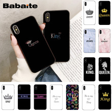 Babaite Queen & King Couple Coque Shell Phone Case for Apple iPhone 8 7 6 6S Plu