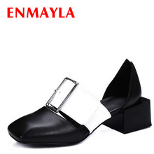 ENMAYLA Women Square Toe Chunky Heels Pumps Low Heels Slip-On Buckle Shoes Woman Genuine Leather Mixed Color Shoes Women Pumps vinlle 2017 woman pumps spring shoes mixed color square med heel slip on women shoes genuine leather wedding pumps size 34 39