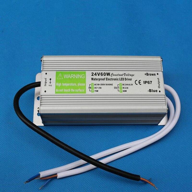 Freies verschiffen 10 teile/los Elektronische Led-treiber 60W LED Netzteil Transformator Wasserdicht 110 V-240 V zu 12 V/DC24V