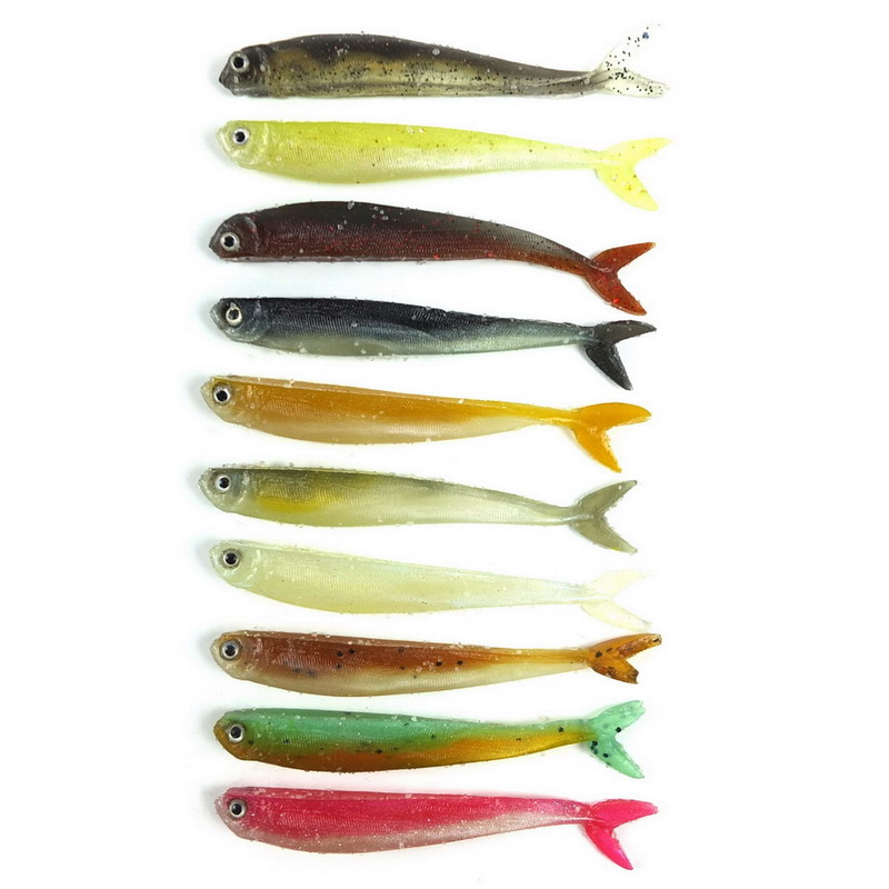 60PCS 8.9CM 3.1G Soft Bait Fish Fishing Lure Shad 3D Eyes Soft Silicone Tiddler Bait Swimbaits Plastic Lure Pasca mix color package on soft lure 15 cm shad bait soft bait for boat fishing