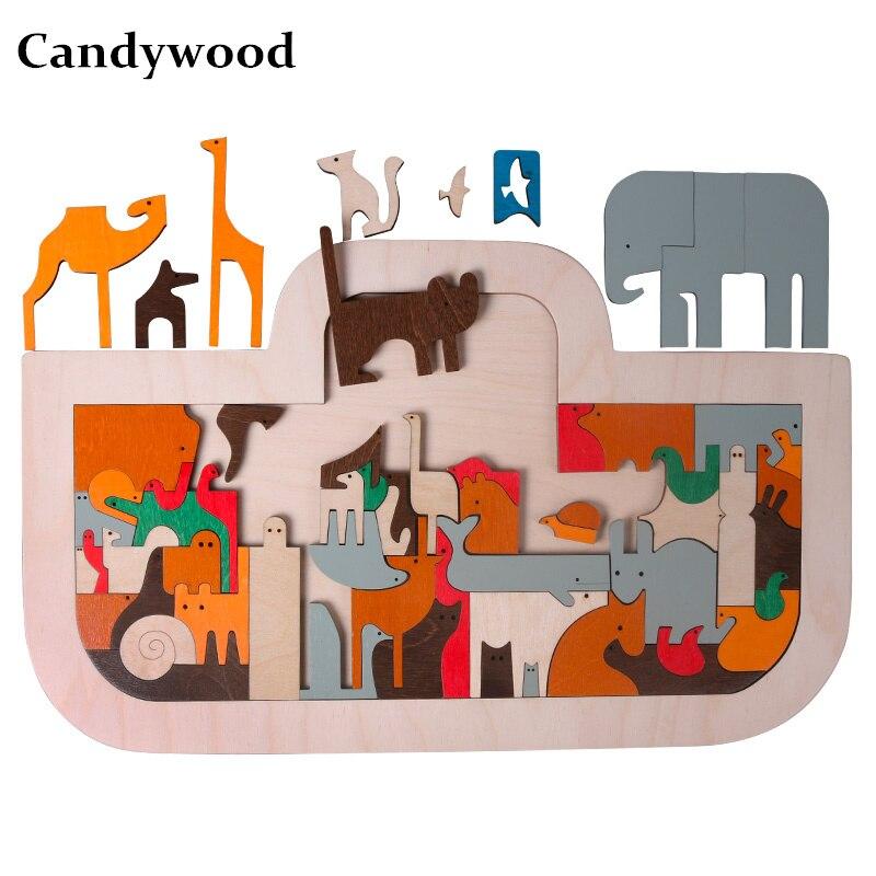 Nouvelle arrivée 49*30 cm Grande Arche de Noé Puzzle enfants Adultes de Bande Dessinée En Bois jigsaw Puzzles Pour Enfants Éducatifs jouets garçon fille Cadeau
