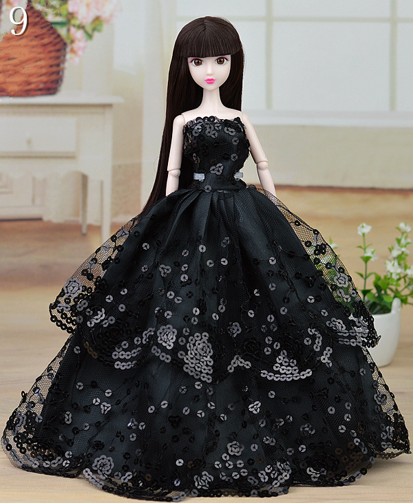 Black Satins Lace Spherical Sequin Embroider Costume Robe Trend Outfit Garments For 1/6 Toy Barbie Doll Child Toy Present