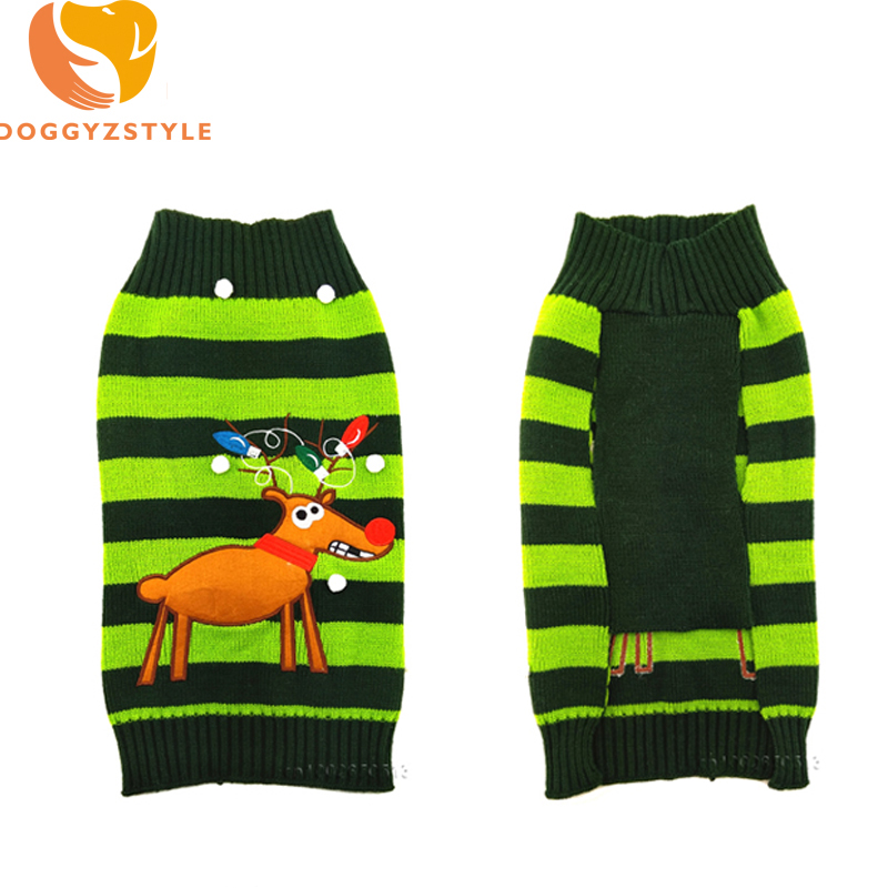 Xmas Reindeer Design Dog Puppy Clothes Stripe Winter Christmas Sweater For Small Dogs Chihuahua Coat Warm Pullover Knitwear Vest