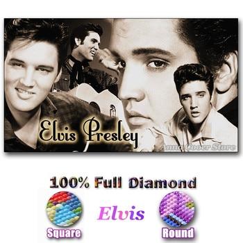 "Kits de pintura de manualidades de diamantes 5D de taladro cuadrado/redondo completo para adultos ""Singer Elvis"" bordado de diamantes decoración de punto para pared"