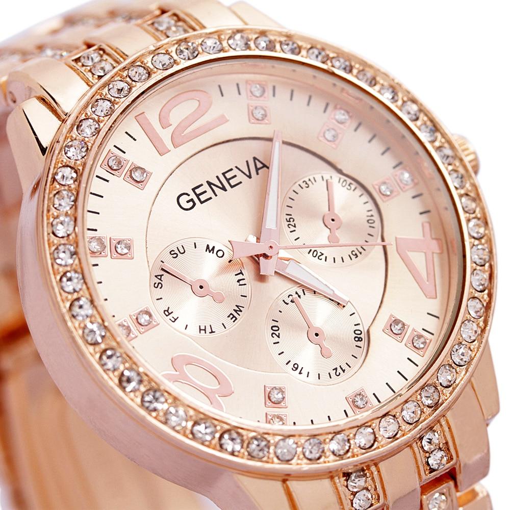 Luxury Geneva Brand fashion rose gold watch women ladies men Crystal dress quartz wrist watch Relogio Feminino ge001