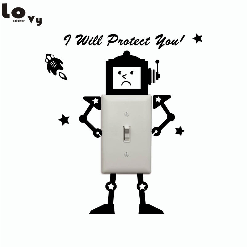 Creative Robot Vinyl Swithc Sticker Funny Cartoon Robot Wall Sticker For Kids Room Bedroom Home Decor