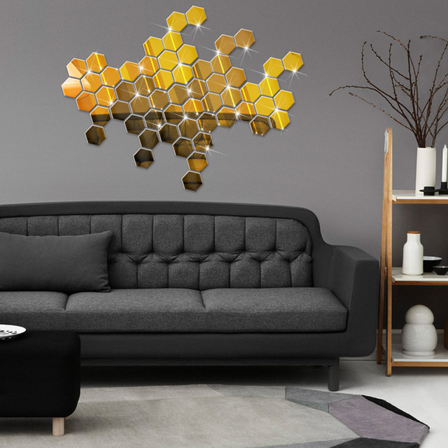 3D Hexagon Acrylic Mirror Wall Stickers 3