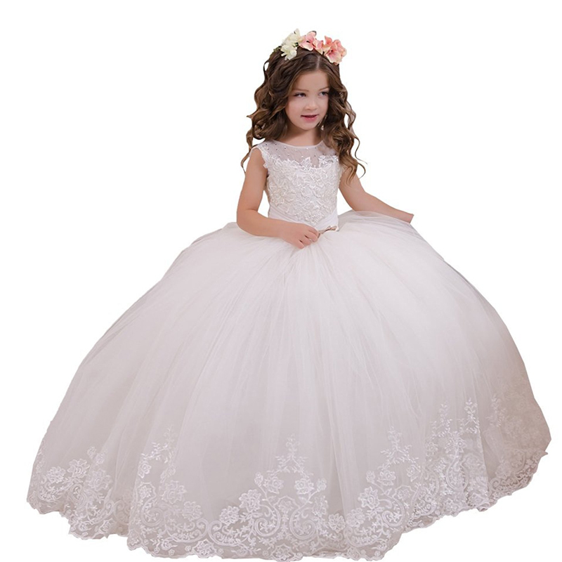 White First Holy Communion Dress Holiday Wedding Party Vestido De Daminha Kids Ball Gown Toddler Lace Flower Girl Dresses Ivory