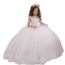 White First Holy Communion Dress Holiday Wedding Party Vestido de Daminha Kids Ball Gown Toddler Lace Flower Girl Dresses Ivory flower girl dresses white lace appliques ball gown first communion dresses hot sale vestidos longo custom make size white ivory
