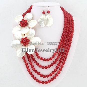 hot Jewelry Set .8mm Round Shape Red hot Necklace Earrings.Wedding Jewelry.Bridesmaid Jewelry.Free Shipping