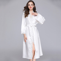 Women Silky lace Long Robe summer Ladies nightgowns bathrobe Sexy White Bride Wedding Robe bridesmaid Dressing Gown