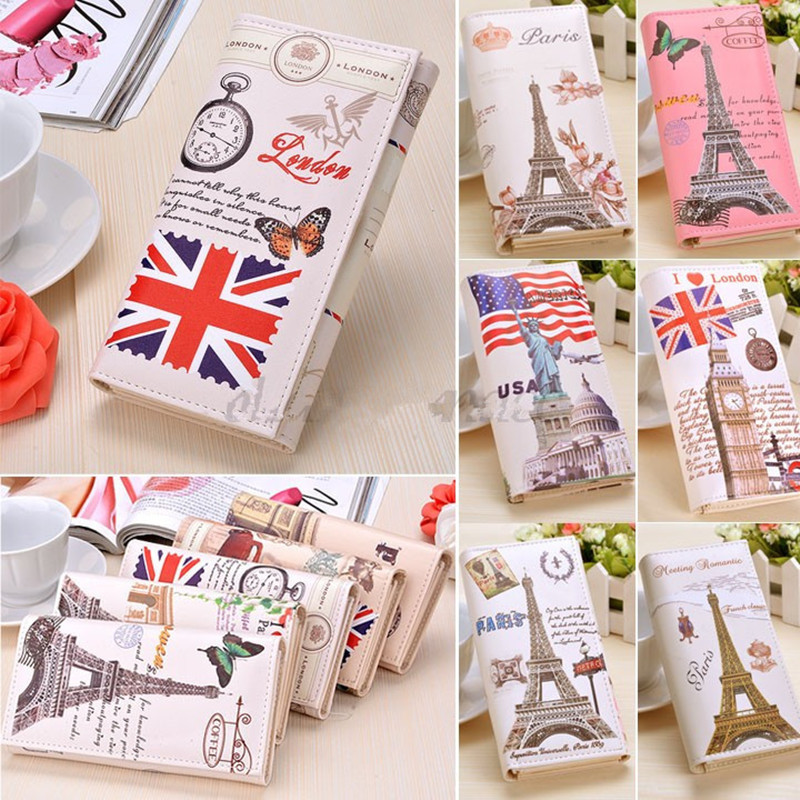 GABWE Hot Sale Fashion Women Long Wallet PU Leather Paris Flags Eiffel Tower Style Lady Coin Purses Clutch Wallets Money Bags