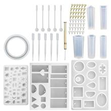 68Pcs DIY Resin Casting Mold Kit Silicone Making Jewelry Pendant Bracelet Mould Handmade Tool