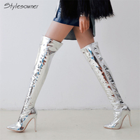 Stylesowner Sexy Female Brand Women Shining Boots Knee High Boots Silver Super High Heels Knight Boots Lady Stiletto Thigh Boots