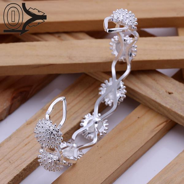 Kind-Hearted Free Shipping Wholesale Silver Plated Bangle,wedding Jewelry Accessories,europe Opening Fireworks Fashion Bangles Bracelet Reasonable Price